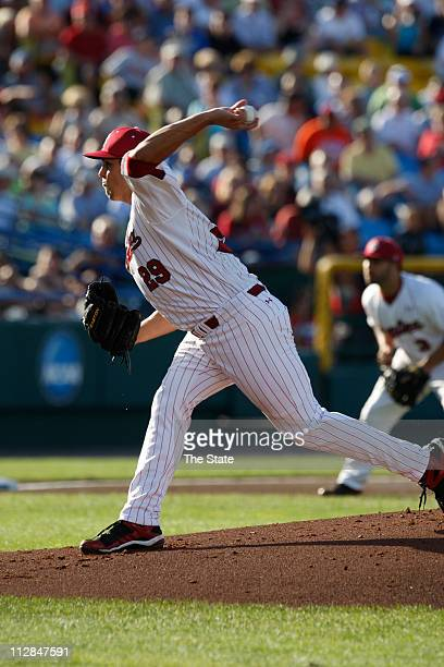 South Carolina's Michael Roth delivers a pitch in the first inning against UCLA during Game 2 of the 2010 College World Series finals at Rosenblatt...