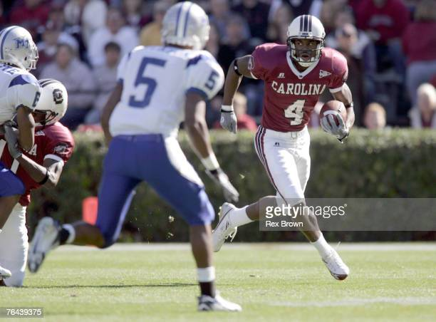 South Carolina's Sidney Rice looks for room to run against Middle Tennessee State at WilliamsBrice Stadium in Columbia South Carolina on November 18...