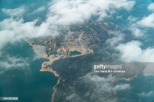South China Sea and Wai Lingding Island in Hong Kong daytime aerial view from airplane