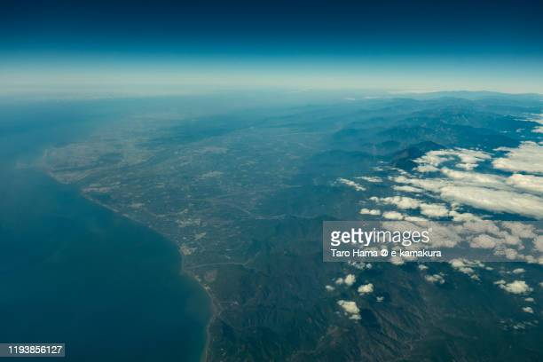 south china sea, pingtung county and kaohsiung city in taiwan aerial view from airplane - 南シナ海 ストックフォトと画像