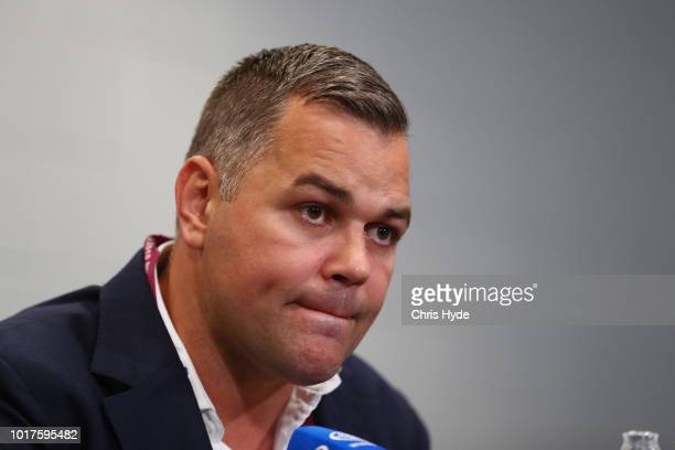 South coach Anthony Seibold speaks to media during a press conference after the round 23 NRL match between the Brisbane Broncos and the South Sydney...