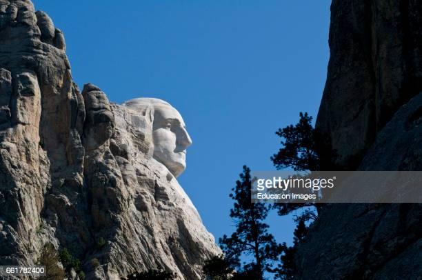 South Dakota Black Hills Mount Rushmore National Monument George Washington's head