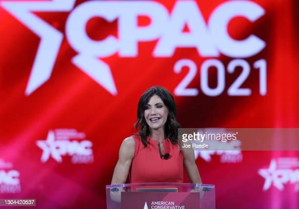South Dakota Gov. Kristi Noem addresses the Conservative Political Action Conference held in the Hyatt Regency on February 27, 2021 in Orlando,...
