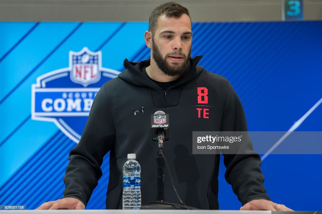 South Dakota State tight end Dallas Goedert answers questions from the media during the NFL Scouting Combine on March 2, 2018 at the Indiana Convention Center in Indianapolis, IN.