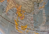 South East Asia countries map on a globe
