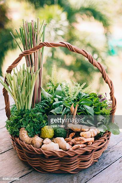 South East Asian herbs with ginger, turmeric and Kaffir lime