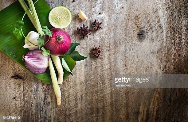 South east asian or indian recipe ingredient on rustic wooden background.