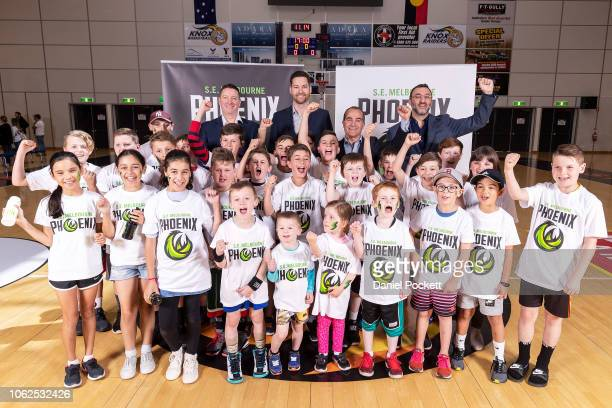 South East Melbourne Phoenix head coach Simon Mitchell South East Melbourne General Manager Tommy Greer Deputy Premier James Merlino and NBL Chief...