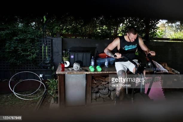 South East Melbourne Phoenix player Mitchell Creek training in isolation at home due to the coronavirus lockdown on May 14, 2020 in Melbourne,...
