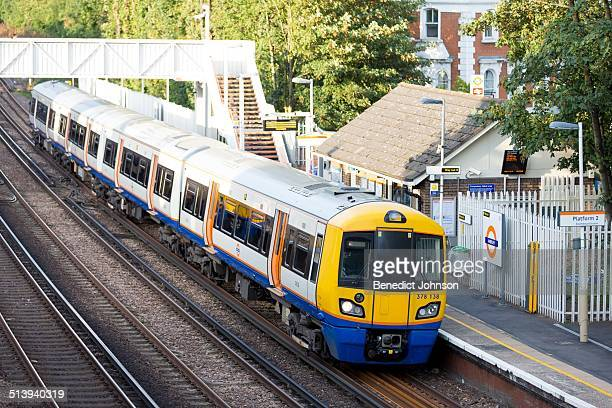 South Eastern railway train standing at Anerley Railway station south London England