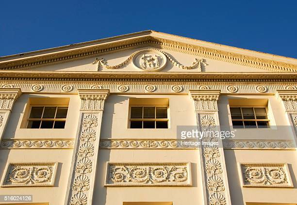 South elevation of Kenwood House Hampstead London 2007 Detailed view of the pediment showing ornamentation Kenwood House was remodelled by Robert...