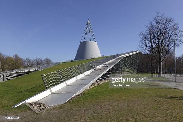 South elevation with cone and turf roof TU Delft Library Delft Netherlands Architect Mecanoo Architecten 1997