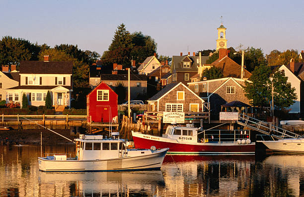 South End, harbor and houses, Portsmouth, New Hampshire, United States of America, North America