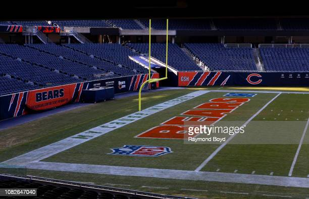 South end zone of Soldier Field home of the Chicago Bears football team in Chicago Illinois on December 11 2018