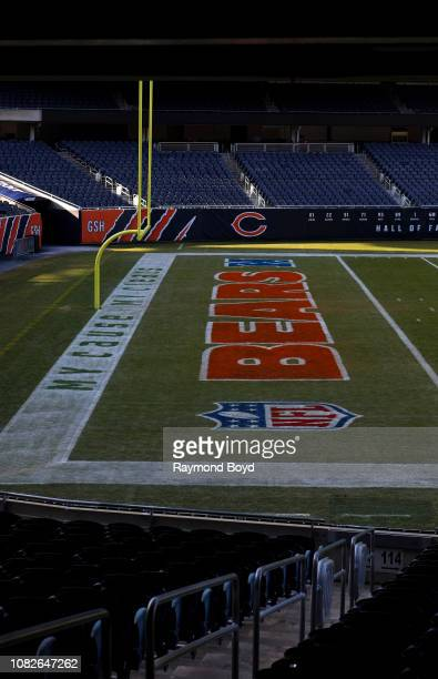 South end zone of Soldier Field, home of the Chicago Bears football team in Chicago, Illinois on December 11, 2018.