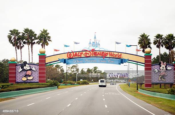 south entrance of disney world in orlando florida - disney stock pictures, royalty-free photos & images