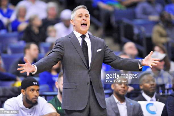 South Florida Bulls coach Brian Gregory reacts to a call during the second half of an NCAA college basketball game against the Memphis Tigers at...