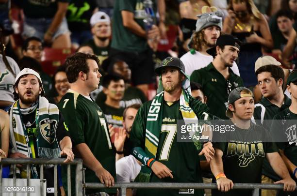 South Florida Bulls fans look on during the fourth quarter of a football game against the South Florida Bulls on September 1 2018 at Raymond James...