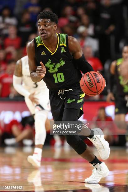 South Florida Bulls forward Alexis Yetna controls the ball during the game against the South Florida Bulls and the Cincinnati Bearcats on January...