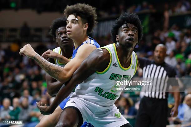 South Florida Bulls guard Rashun Williams boxes Memphis Tigers guard Lester Quinones out during the college basketball game between the Memphis...