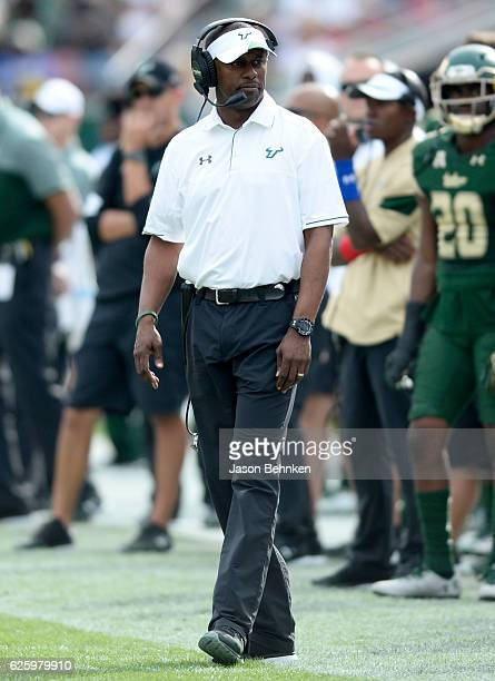 South Florida Bulls head coach Willie Taggart during the third quarter at Raymond James Stadium on November 26 2016 in Tampa Florida
