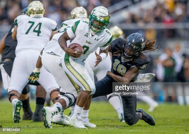 South Florida Bulls wide receiver Tyre McCants evades a sack during the football game between the UCF Knights and USF Bulls on November 24 2017 at...