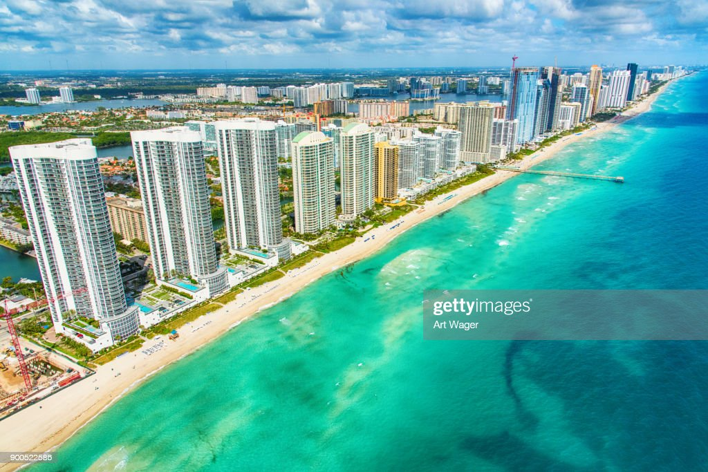 South Florida Coastline Aerial : Stock Photo