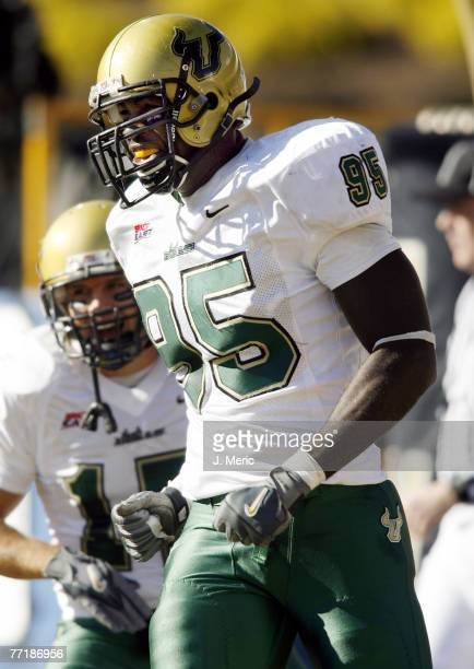 South Florida defensive lineman George Selvie is pumped after scoring a touchdown on a fumble recovery during the game between South Florida and West...