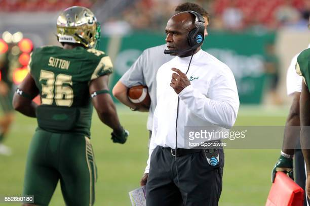 South Florida Head Coach Charlie Strong watches the action on the field during the game between the Temple Owls and the USF Bulls on September 21 at...
