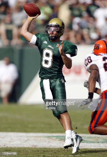South Florida quarterback Matt Grothe looks to make a throw during Saturday's game against Syracuse at Raymond James Stadium in Tampa Florida on...