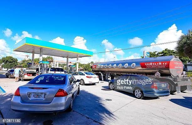 South Florida residents get gas in preparation for Hurricane Matthew on October 5 2016 in Fort Lauderdale Florida The hurricane has pounded Jamaica...
