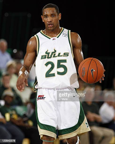 South Florida's James Holmes looks for an open teammate during Saturday's game against Georgetown at the Sundome in Tampa, Florida on March 4, 2006.