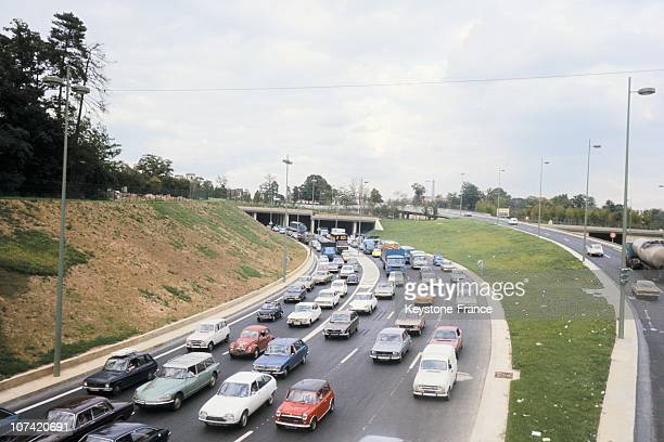 South Freeway Blocked By Cars Near Orly In Paris