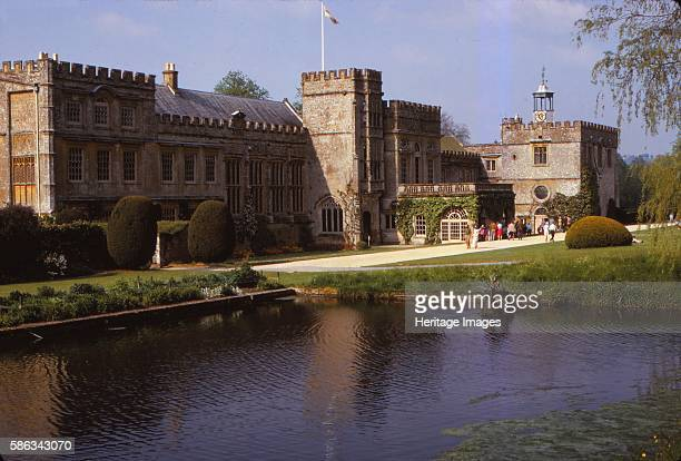 South Front of Forde Abbey and Long Pond Dorset 20th century 16th and 17th century additions to 12th century Cistercian monastery in Dorset England...