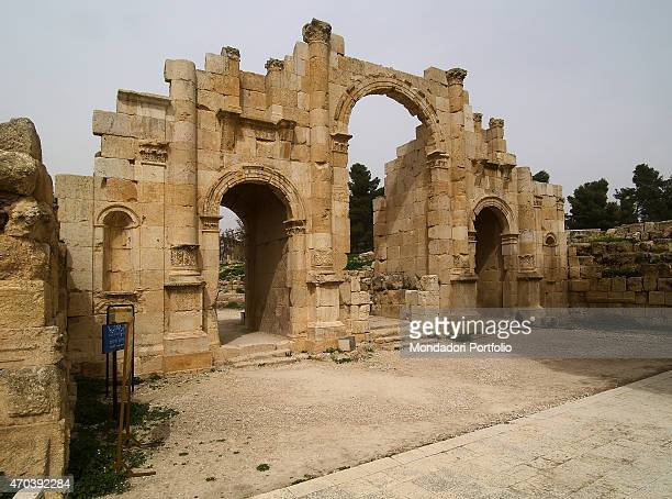 'South Gate 2nd Century AD stone building Jordan Jerash Whole artwork view View of the facade of the monumental gate through which the visitors...