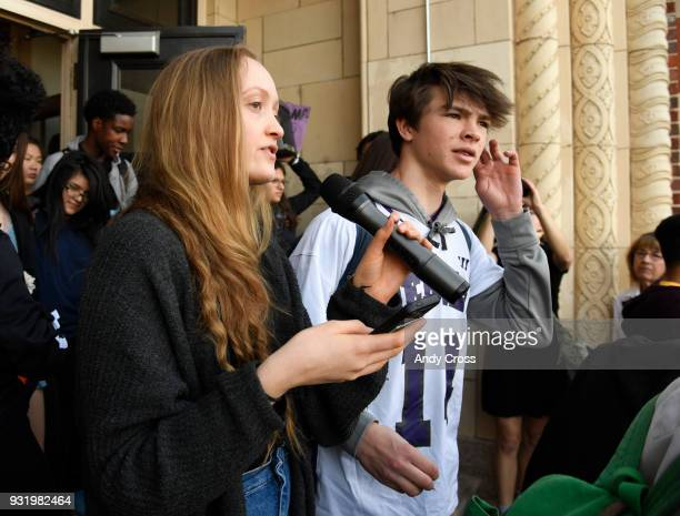 South High School student organizer Sophia Cardin addresses the students who walked out of classes in solidarity protesting gun violence March 14 2018