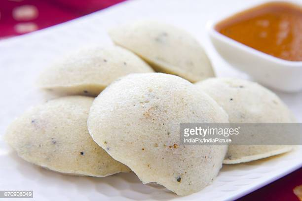 South Indian breakfast idli with sambar
