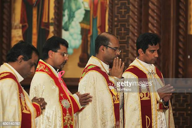 South Indian Catholic priests perform special prayers during the anniversary of the 1st Episcopal Ordination of Bishop Jose Kalluvelil in Mississauga...