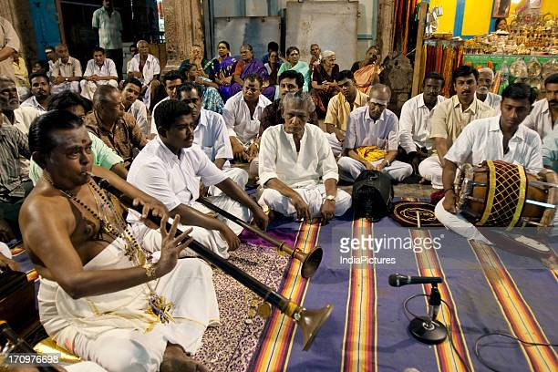 South Indian classical carnatic music concert inside the Madurai Meenakshi Amman Temple complex during the annual festival Madurai Tamil Nadu India