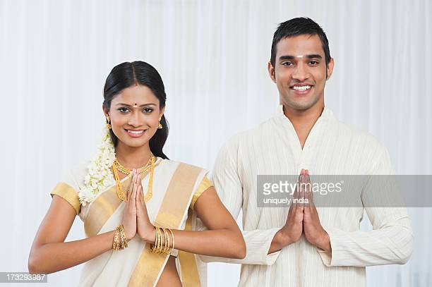 South Indian couple greeting