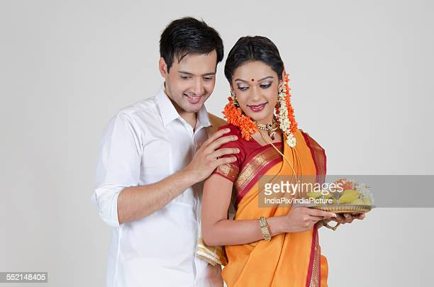 South Indian couple with a thali