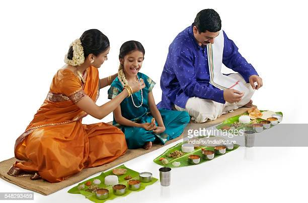 South Indian family having lunch