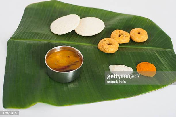 South Indian food served on a banana leaf