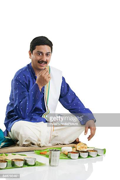 South Indian man having lunch