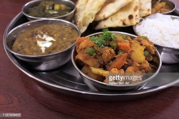 south indian thali plate dish close up - rafael ben ari stock pictures, royalty-free photos & images