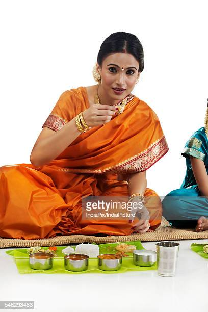South Indian woman having lunch