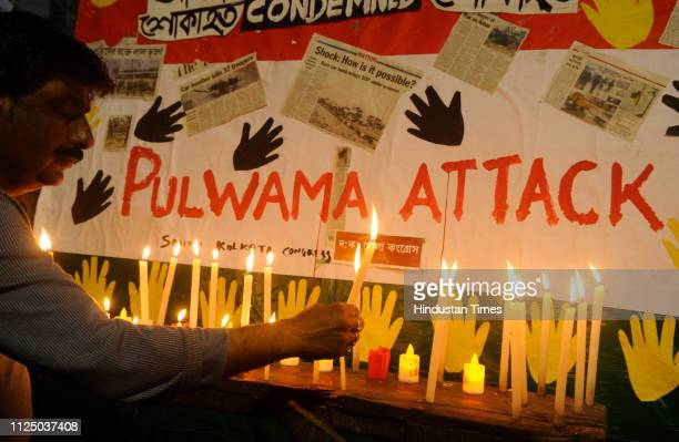 South Kolkata Congress supporters pay homage to martyred soldiers in Pulwama terror attack and show solidarity at South Kolkata on February 15 2019...