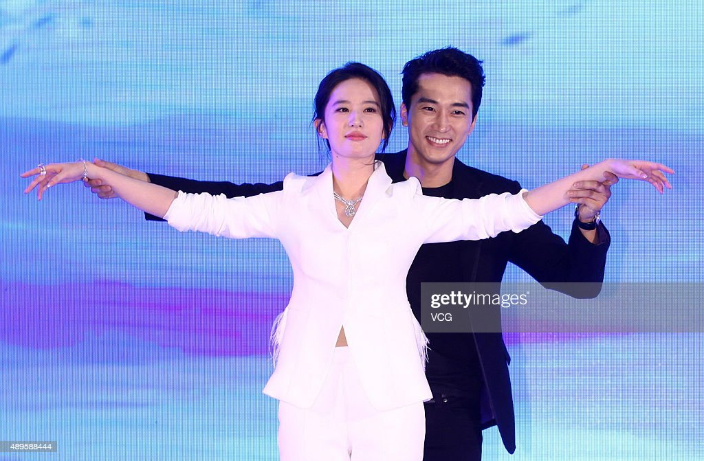 South Korea actor Song Seung Heon and Chinese actress Liu Yifei attend the premiere press conference of new film 'The Third Way Of Love' on September 22, 2015 in Beijing, China.