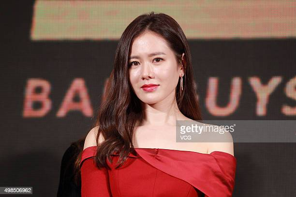 South Korea actress Son Ye Jin attends premiere press conference of new film 'Bad Guys Always Die' directed by Sun Hao on November 23 2015 in Beijing...