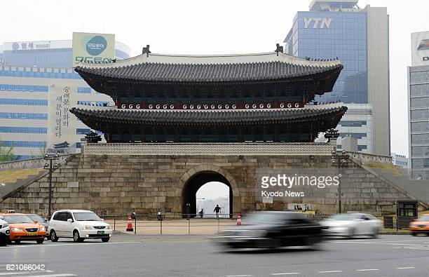 SEOUL South Korea An April 29 photo shows the restored Sungnyemun popularly known as Namdaemun or south gate and National Treasure No 1 in Seoul on...